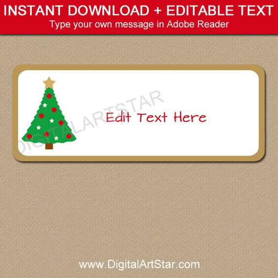Return Address Labels   Christmas Address Labels   Holiday Address Label  Template   Christmas Download Address Labels   Christmas Tree Label