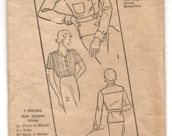 """1930's Excella Blouse with scarf collar Pattern - Bust 34"""" - No. E4307"""