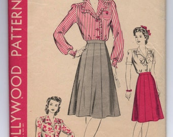 """1940's Hollywood Blouse and Ten Gore Skirt Pattern - Bust 34"""" - No. 1164"""