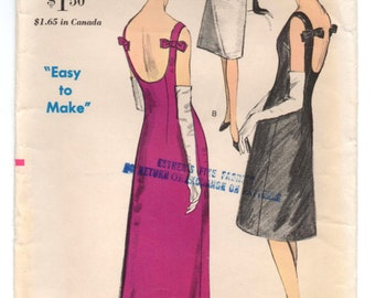 "1960's Mod Shift Evening Dress with Bow Accent on Back Pattern by Vogue - Bust 34"" - No. 6085"