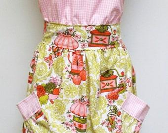 Kitchen Apron, Full Apron, Handmade Apron, Cotton Apron, Retro Print Apron, Cooking Apron, Pink Apron, Pocket Apron, Mothers Apron,