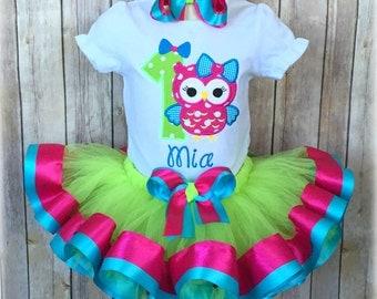 Owl Birthday Ribbon Trim Tutu Outfit - First Birthday Owl Tutu Outfit - Owl with Bow Ribbon Tutu Outfit