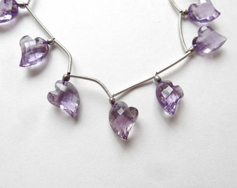 Sparkly Amethyst Faceted Fancy Asymmetrical Heart Briolette Drop ONE Bead N3339