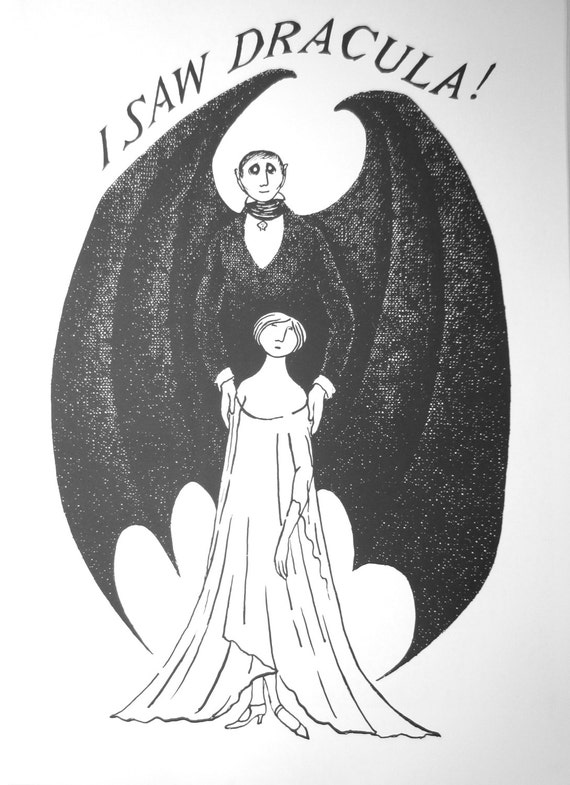 Vintage Large Edward Gorey Print Poster 1970s I Saw Dracula