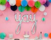 "Yay script Silver Mylar Foil Balloons - 45"" Long - Birthday Party - Wedding - Bridal Shower - Bachelorette Party"