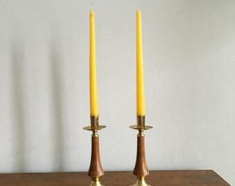 vintage brass boho modernist mid century hollywood regency candlestick holders. two brass pair of candlestick holders. interior design decor