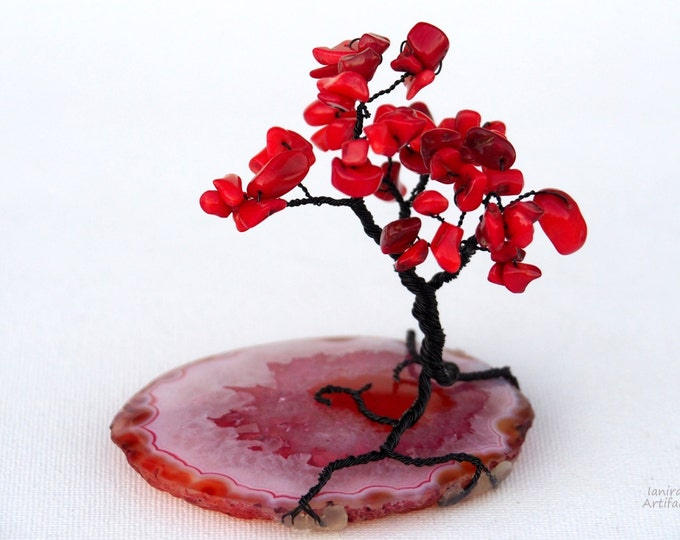 Wire tree sculpture with red Coral