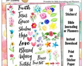 50% Off Printable Bible Journaling & Planner Stickers in Hand-Painted Watercolor Florals Faith Word Art DIY 50 Stickers