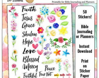 Printable Bible Journaling & Planner Stickers in Hand-Painted Watercolor Florals Faith Word Art DIY 50 Stickers