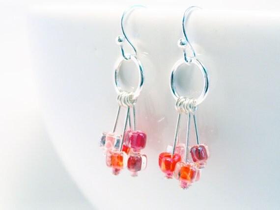 Hot pink earrings - pink cluster earrings - pink glass earrings - glass drop earrings - cherry earrings - pink earrings - cerise earrings