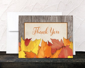 Fall Thank You Cards - Leaves and Wood Autumn - Rustic Fall Country - Printed Cards