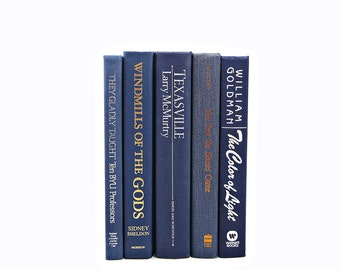 Deep Blue BOoks, Decorative Books, Vintage Book Decor, Wedding Decoration, Book Set, Instant Library Old Book Collection Navy BOok Stack