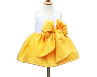 Ceremony Toddler Girls Dress - Flower Girls Dress - With Large Bow Bash - Party Toddler Dress -  KK Children Designs - 6M to