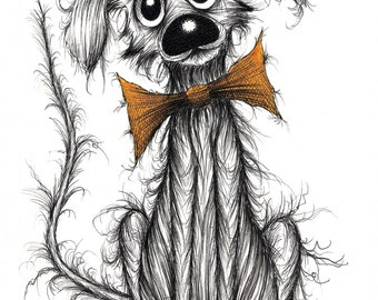 Stinker the dog Print A4 size picture Extremely smelly little pet puppy doggie pooch pup in orange bow tie with cute face Drawing sketch