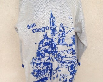 Vintage kitsch sweater San Diego blue white scenery cotton sz L/XL