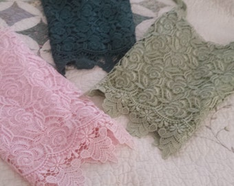 THREE different colors knit tank tops with pretty lace embroidery pink , light green and dark green 12.00 EACH