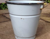 Small enamel bucket metal flower pail small planter plant container blue or white enamel finish