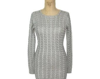 vintage 1970s silver knit mini dress / Jon-Michel / silver platinum metallic lurex / sweater dress / women's vintage dress / size 10