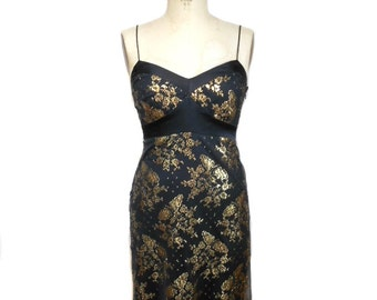 vintage 1990s BETSEY JOHNSON lace dress / black gold metallic / spaghetti straps / baby doll dress / women's vintage dress / size 4