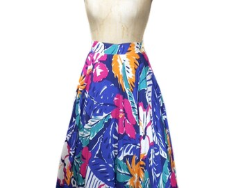 vintage 1980s EMPORIO ARMANI floral circle skirt / tropical tiki bold / spring summer / full skirt / women's vintage skirt / tag size 42