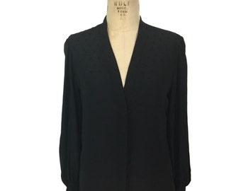 vintage 1980's HANAE MORI black heart blouse / polyester / v-neck / novelty print blouse / 80's blouse / women's vintage blouse / tag size 8