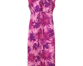 vintage 1970s floral Hawaiian dress / pink purple / acrylic / maxi dress / women's vintage dress / tag size 10