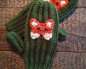 Fox Mittens, Crochet Animal Mittens, Children's Mittens, Made to Order