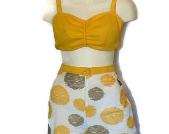 Vintage 70s Bikini Top Shorts Set Yellow Geometric Bra Top Short Shorts Amazing Mod Circle Print Sun Suit Playsuit L