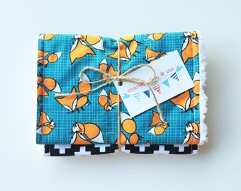 SHOP CLOSING SALE Free Shipping Fox Burp Cloth Set Baby Boy Shower Gift Set of 2 Woodland Animals Cloths Modern Teal Orange Handmade Burpees