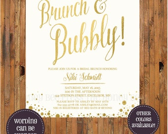Brunch and Bubbly Bridal Shower invitation - Bridesmaid Luncheon - Bridal Brunch invite - Champagne Gold Ivory bubbles - Item 0264