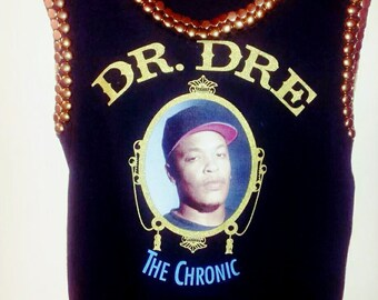 Free shipping(in the U.S. only) Hand Studded Sleeveless Dre Chronic Tee!