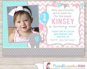 Elephant Birthday Invitation - Girl Elephant Invitation - Little Peanut Invitation - Elephant Birthday - DIY Custom Printable