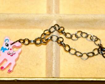 Pink Deer Charm Bracelet