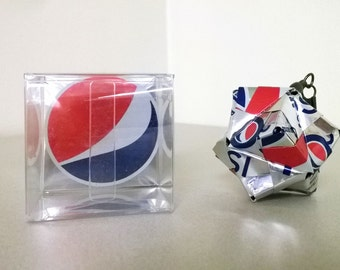 Diet Pepsi Can Origami Ornament.  Upcycled Recycled Repurposed Art
