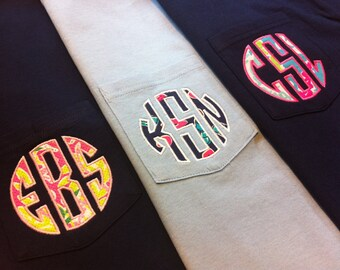 Lilly Pulitzer Circle Monogram Pocket Tee - Lilly Classic Circle Monogram Long Sleeve Shirt - Lilly Monogram Comfort Colors Shirt
