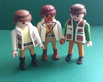 Playmobil Geobra Figures, set of 3, Saurus Team Workers, 2 male, 1 female, vintage toys, original, collectible, EGST, Greece