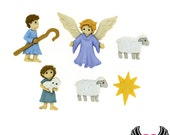 Jesse James Buttons 6pc Christmas Nativity Good Shepherd & Angel Buttons OR Turn them Into Flatback Decoden Cabochons (214)