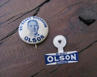 Vintage Governor Olson Election Buttons