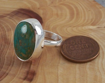 Size 5 Natural Nevada Turquoise Gemstone and Sterling Silver Ring