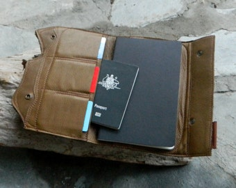 Leather Moleskin Cover Leather Padfolio Travel Organiser with Australian Smoky Quartz and Dendritic Opal