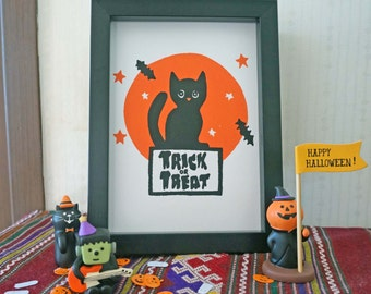 "Trick or treat! Original 5x7"" cute black cat screen print"