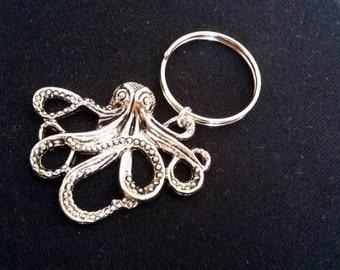 Octopus keychain, octopus charm, animal keychain friend keychain, friendship keychain, animal charm, octopus keyring octopus key chain squid