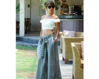Linen Maxi Skirt / Long Skirt in Grey / Maxi Linen Skirt with Belt / Pockets Skirt