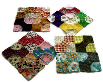 """Miniature Bowtie Quilt Blocks, Multicolor (I) Blocks Hand-Pieced From 20th Century Fabrics, Finished Size 3 3/4""""(9.5cm), Free US Shipping"""