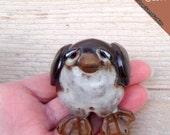 Pengiun Gift, Handmade Penguin, Penguin Art, Clay Penguin, Stoneware Clay Penguin,