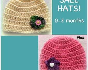 SALE baby girl hat, newborn baby hat, 0-3 months, newborn, yellow, pink, flower