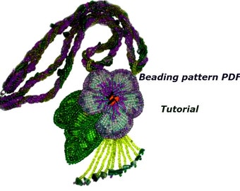 Necklace Viola. Bead embroidered Necklace. Beading Tutorial. Beading pattern PDF. Instant download.