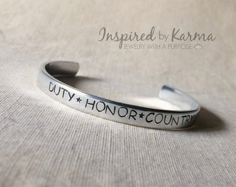 DUTY, HONOR, COUNTRY Bracelet,Proud West Point Mom,Personalized Cuff Bracelet,Military Jewelry,gifts under 25,personalized gifts