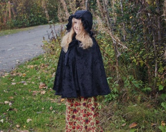 Child's Black Velvet Cape with Hood