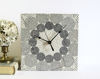 Dots and Lines Square Art Clock Kinetic Sculpture Black Ink Drawing Book Paper Collage Black & White Art Modern Home Decor Contemporary Art